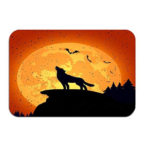 YGUII Outside Shoe Non-Slip Color Dot Doormat Halloween Background Wolf Grunge Night Full Moon Mats Entrance Rugs Carpet 48(L) x 16(W) Inch -