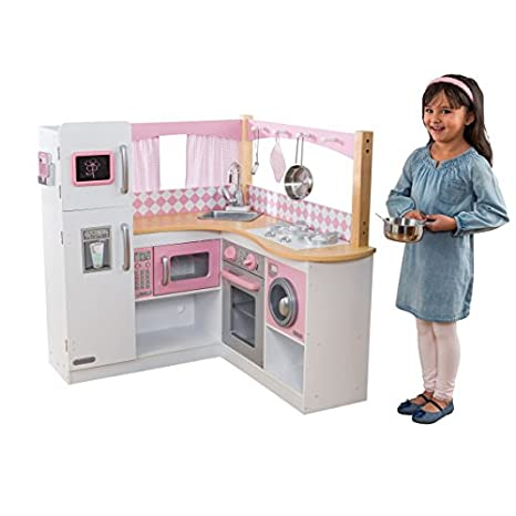 2f6efae9806bb KidKraft 53185 Grand Gourmet Corner Wooden Pretend Play Toy Kitchen for Kids  with role play accessories included - Pink   White  Kidkraft  Amazon.co.uk   ...