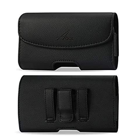 For JitterBug SMART - 6 x 3.1 inch, Premium Leather AGOZ Pouch Case Holster with Belt Clip & Belt (Jitterbug Phone Cover)