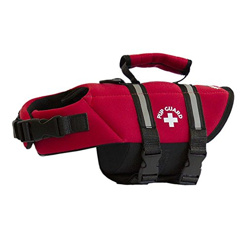 Travelin K9 Premium Red Neoprene Dog Life Jacket, Reflective, Bouyant (X-Small 15-19 chest)