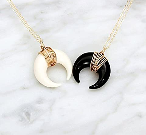 Small Horn Necklace, Silver Double Horn Necklace, Gold Tusk Pendant Necklace / Black or White Crescent Moon Necklace, Long Boho (Gold Buffalo Necklace)