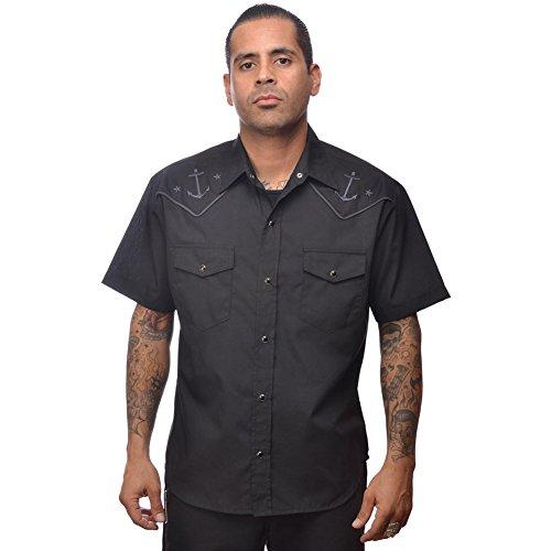 Mens-Steady-Clothing-Anchored-Western-Shirt-Black