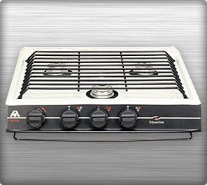 (Atwood CA-35 BPN 52756 3 Burner Slide-In Cooktop Black Top Piezo Ignition For Notched Counter)