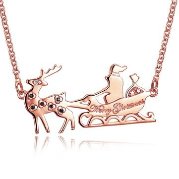 Women's Sweet Christmas Gift Santa in Sleigh Reindeer Zircon Necklace - Fine Jewelry Fine Necklaces - (Rose ()
