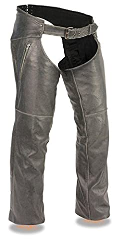 MEN'S VINTAGE DISTRESSED GREY SLATE CHAP W/ DEEP THIGH ZIPPERED POCKETS (M Regular) - Vintage Leather Accessories
