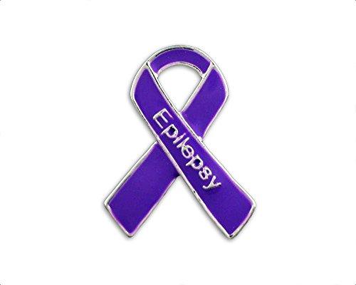 Epilepsy Awareness Purple Small Flat Ribbon Pin (1 Pin - (Sterling Silver Awareness Ribbon Pin)