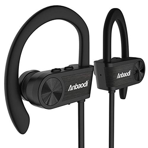 Anbaodi Bluetooth Headphones, Wireless Sports Bluetooth Earphones Mic IPX7 Waterproof in Ear Headphones Case HD Stereo Sweatproof Earbuds Noise Cancelling Headsets