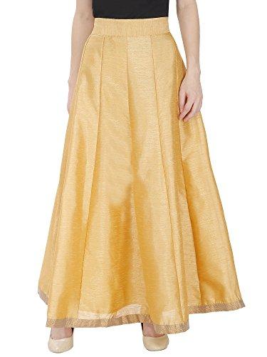 DAMEN MODE Women's Silk Skirt Women's Golden Skirt Silk Flared Stylish Skirt For Girls