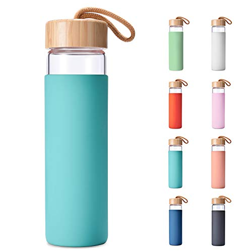 Yomious Borosilicate Glass Water Bottle with Bamboo Lid and Silicone Sleeve – 20 oz – BPA Free – Eco Friendly and Reusable – Leak Proof Design – Carry Strap Built Into Lid (Arcadia)