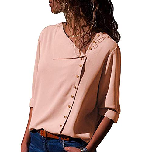 2019 Fashion Long Sleeve Women Blouses and Tops Skew Collar Solid Office Shirt Casual Tops,Pink,XXXL