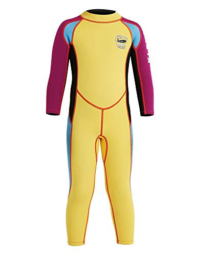 - DIVE & SAIL Kids Wetsuit 2.5mm Neoprene Keep Warm for Diving Swimming Canoeing UV Protection(Yellow,M)