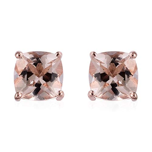 Stud Solitaire Earrings 925 Sterling Silver Vermeil Rose Gold Cushion Morganite Jewelry for Women Ct 0.8