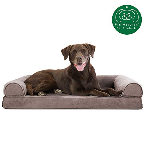 Furhaven Pet Dog Bed   Orthopedic Faux Fur & Velvet Traditional Sofa-Style Living Room Couch Pet Bed w/Removable Cover for Dogs & Cats, Driftwood Brown, Large (Pet Couches)