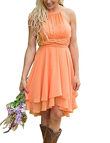 Meledy Women's Knee Length Country Bridesmaid Dresses Western Wedding Guest Dresses Short Maid of Honor Gown Orange US08