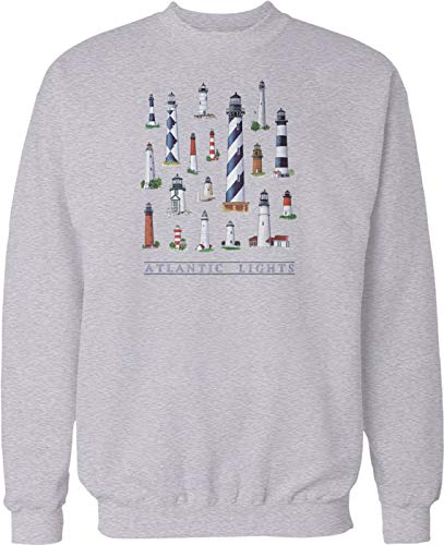 Hoodteez Atlantic Lighthouses, Navigational Aid Crew Neck Sweatshirt, S LtGray