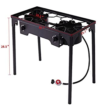 Sandinrayli Double Burner Gas Stove Cooking Stand Camping Patio Gas Grills