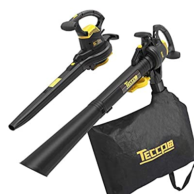 TECCPO 3-in-1 Blower/Vacuum/Mulcher, 12 Amp Professional Leaf Blower, Variable Blow Speed of 170/250mph, Mulching Ration of 16:1, 280/410 CFM, 40L Collection Bag - TABV01G