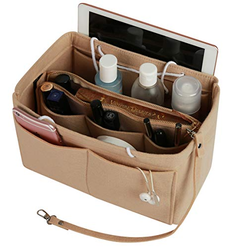 Felt Purse Organizer with Zipper, Insert Bag in Bag Handbag Organizer for Speedy Neverfull Longchamp, 3 Sizes