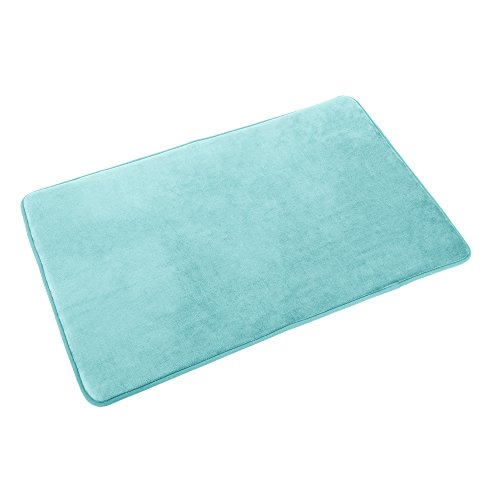 Clara Clark Memory Foam Bathrug – Aqua Light Blue, Bath Mat and Shower Rug Small 17″ x 24″ Inches, Non Slip Latex Free Plush Microfiber. Comfortable, Beautiful and Maximum Absorbency.