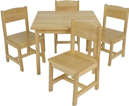 557b9ceceb5 Amazon.com  KidKraft Farmhouse Table and Chair Set Pecan  Toys   Games
