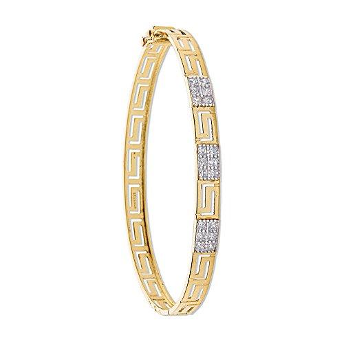 9ct or jaune CZ Clé grecque Bracelet 8.3G