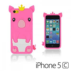OnlineBestDigital - Piggy Style Silicone Case for Apple iPhone 5C - Hot Pink