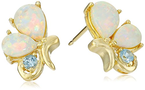 Gold Genuine Swiss (18k Yellow Gold Plated Sterling Silver Created Opal and Genuine Swiss Blue Topaz Butterfly Stud Earrings)