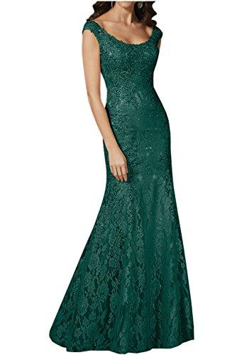 Gorgeous Bride Luxury Rundkragen Meerjungfrau Satin Spitze Lang Abendkleider Festkleid Ballkleid Dunkelgruen bzM5Ed