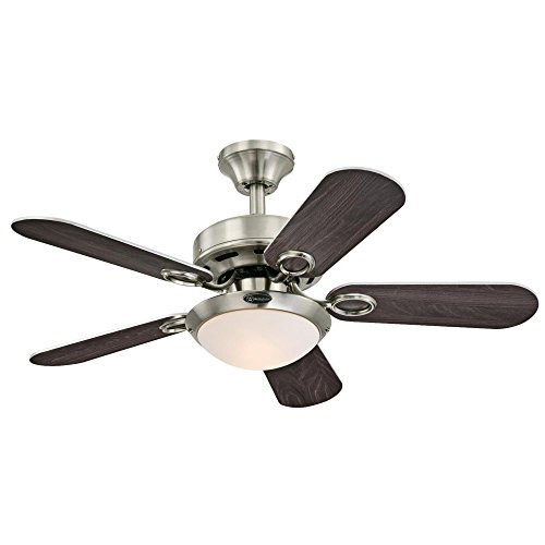 Westinghouse Lighting 7203200 Cassidy Two-Light Reversible Five-Blade Indoor Ceiling Fan, 36 , Brushed Nickel