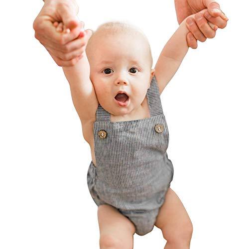 (Simplee kids Baby Onesies Boy Newborn 0-3 Months Unisex Cotton Striped Linen Baby Romper )
