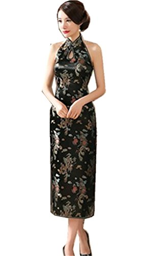 Shanghai Story Dragon Phoenix Floral Halter Backless Long Qipao Dress 8 Black
