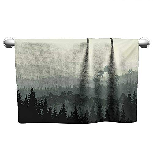 Forest,Small Bath Towels The Panorama of a Valley and Mystic Forest of Pine Trees Nature Theme Fade-Resistant Egg Shell and Sage Green W 20