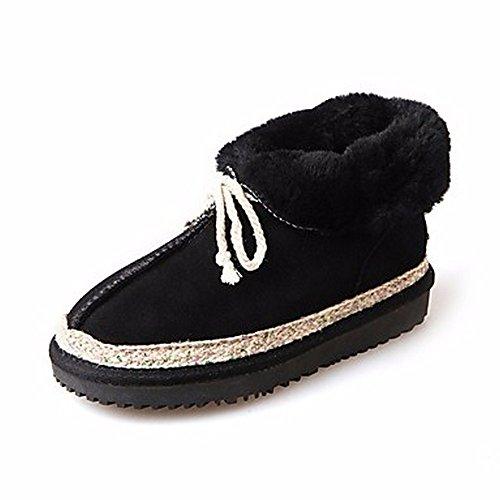 ZHUDJ Damen Schuhe Winter Stiefel Absatz Round Toe Lace-Up Für Ungezwungene Party & Abend Grau Schwarz Black