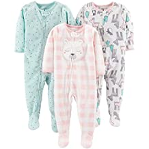 Simple Joys by Carter's Girls' 3-Pack Loose Fit Flame Resistant Fleece Footed Pajamas