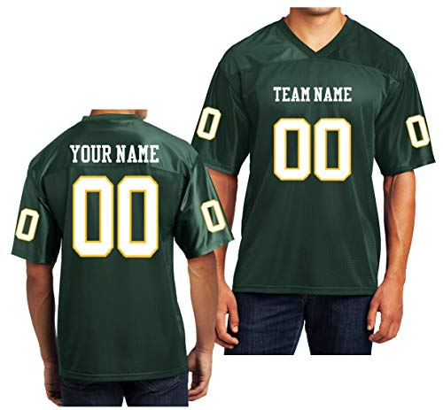 (Custom Football Replica Team Jersey (XXXX-Large, Forest Green - White & Gold Font))