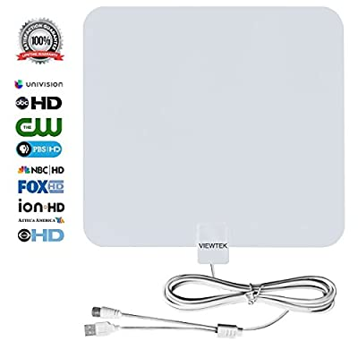 VIEWTEK Amplified Digital Indoor HDTV Antennas with 50 Mile Range,13.2 FT Copper Coaxial Cable,USB Power Supply,detachable amplifier booster,4K ready (White)