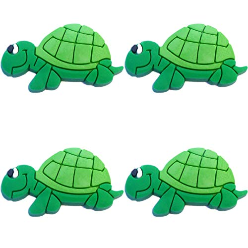 Four (4) of Smiling Turtle Rubber Charms for Wristbands and Shoes