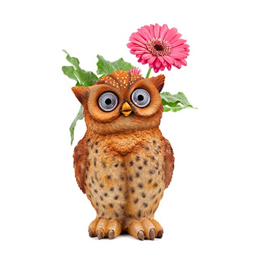 (Owl Pot Succulent Planter | Owl Flower Pot Solar LED | Outdoor Indoor Decor for Yard, Patio, Windows, Kitchen or Deck | Garden Gift | Auto On/Off (Brown))