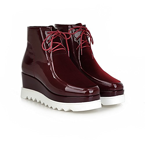 Boots Womens SXC01992 Urethane Wedges Claret Toe AdeeSu Casual Square SYx0Cqqd