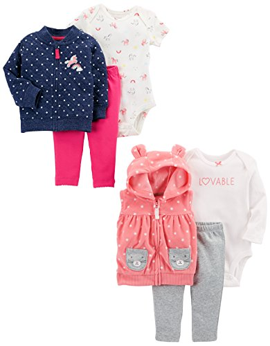 Carter's Baby Girls' 6-Piece Jacket and Vest Set, Denim Quilted/Pink Dot, 12 Months