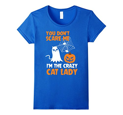 Crazy Lady Costume Cat Idea (Womens Halloween Pumpkin T Shirt | Crazy Cat Lady Costume Gift XL Royal)