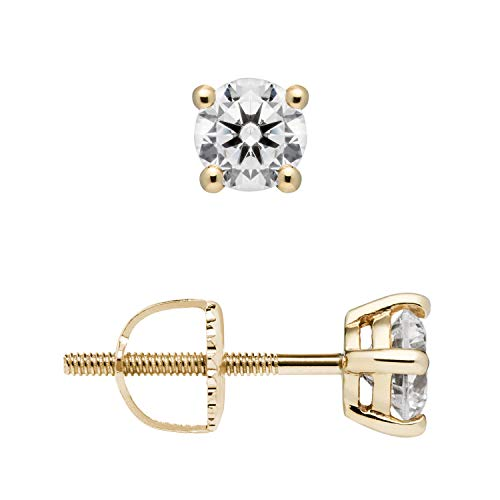 14K Solid Yellow Gold Stud Earrings | Round Cut Cubic Zirconia | Screw Back Posts | .50 CTW | With Gift Box
