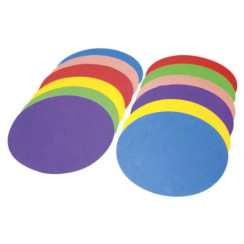 Power Systems Soft Agility Dots, 10 Inch Diameter Each, 12-Pack, Assorted Colors (30760)
