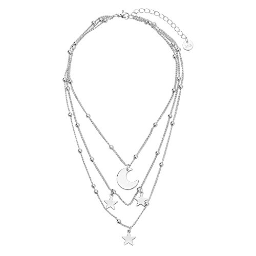Manerson Moon Star Choker Necklace Beads Chain Pendant Statement Necklace for Women Wedding Mother;s Day Gift Silver Tone ()