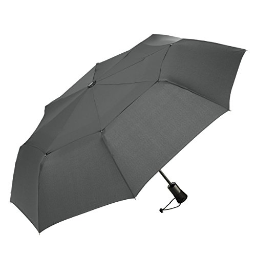 ShedRain WindPro Vented Auto Open/Auto Close Compact Wind Umbrella with EVA Cushion Grip: Charcoal Gray ()