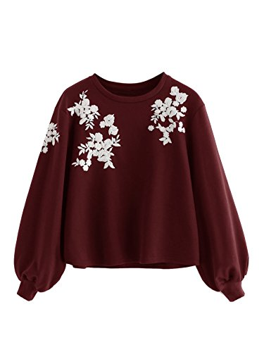 Romwe Women's Loose Embroidery Lantern Sleeve Pullover Sweatershirts Burgundy M