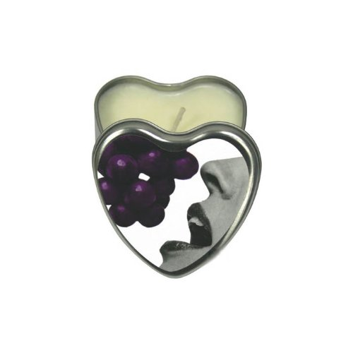 Earthly Body Edible Heart Candle, Grape, 4 ounces Tin