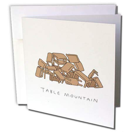 - 3dRose Unclipped Adventure - misc Humour - Table Mountain Cape Town - 1 Greeting Card with Envelope (gc_299842_5)