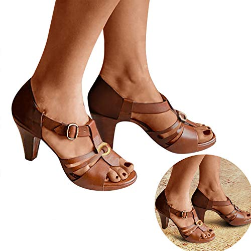 Clearance! Swiusd Women's Stiletto Hollow Ankle Strap Buckle Comfy Gladiator Roman Sandals Retro Open Toe Slingback Wedged Sandals (Brown, 7 .5 M US)