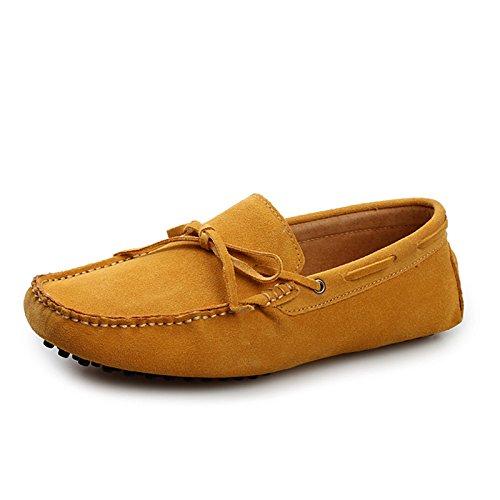 Minitoo Men'neuen Knoten Suede Boat Shoes Slipper Penny Fahren, Gelb - gelb - Größe: 39.5